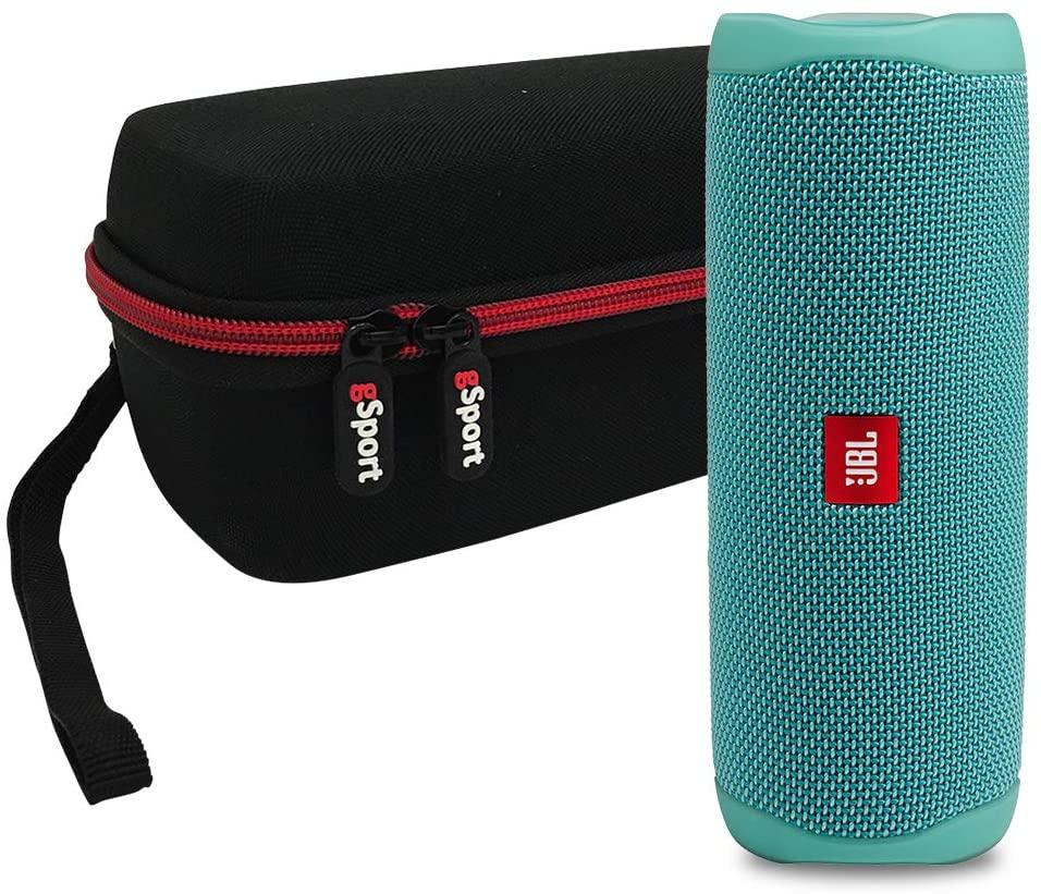 JBL FLIP 5 Portable Speaker IPX7 Waterproof On-The-Go Bundle with gSport Deluxe Hardshell Case (Teal)